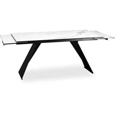 Стол Aris 160 NE черная краска столешница CEMB керамика белый мрамор